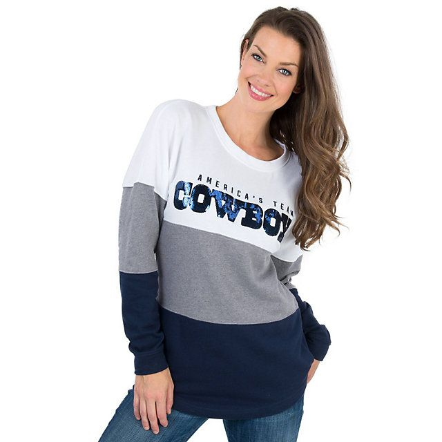 Dallas Cowboys PINK Bling Pierced Varsity Crew | PINK | Womens | Cowboys Catalog | Dallas Cowboys Pro Shop