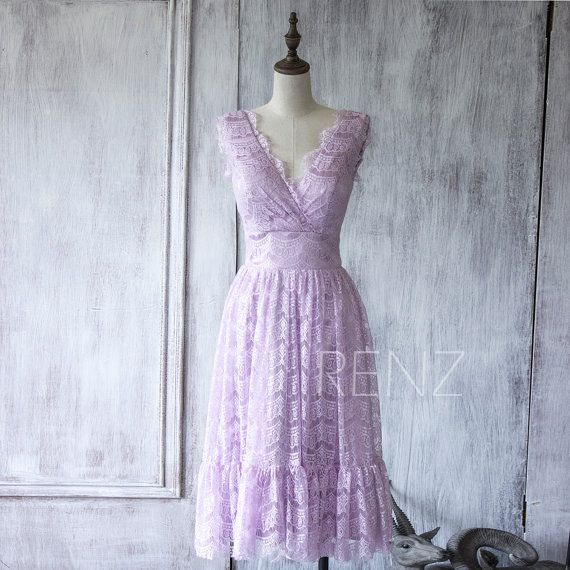 $118- 4.5 star rating, 3500 reviews comes in periwinkle  2015 Light Purple Lace Bridesmaid DressShort Orchid by RenzRags
