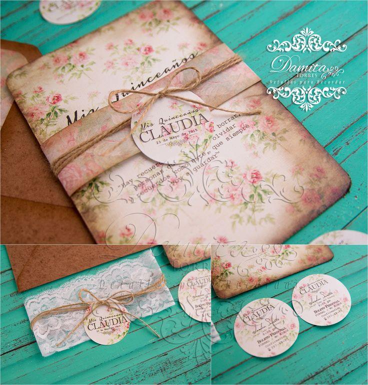 Invitacion vintage, invitation, invitacion XV años, Invitación flores