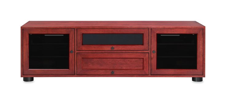 "Majestic EX 70-inch American Solid Wood Media Console / TV Stand / AV Cabinet for Most Flat Screen TVs to 75"" (Rose on Cherry, Black HW)"