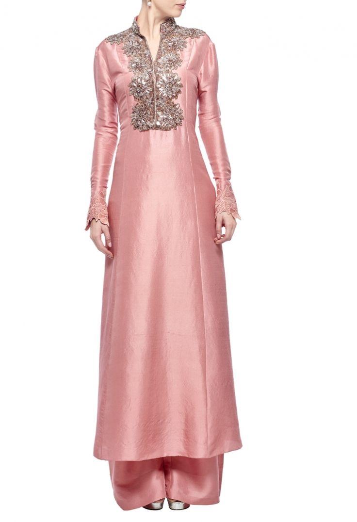 Dusky pink embellished tunic with palazzos by Manish Malhotra - Shop at Aza