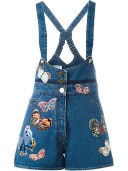 butterfly embroidered dungarees $2,055 #Farfetch #cute #ShoppingSale
