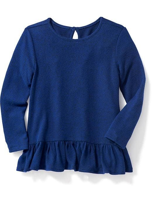 Plush-Knit Ruffle-Hem Top for Toddler Girls