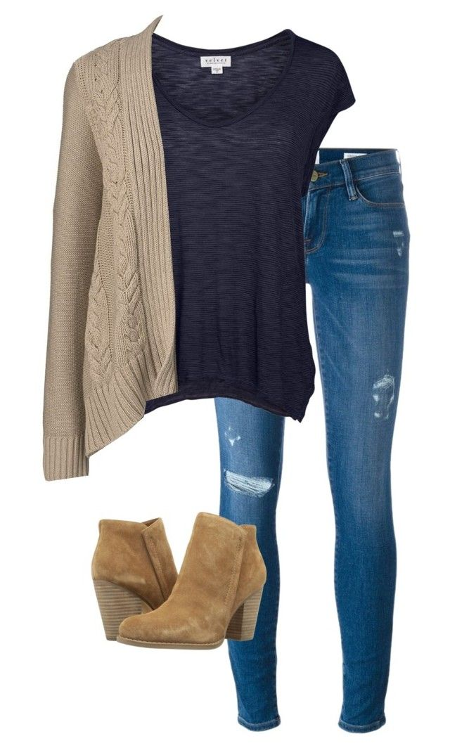 """""""3"""" by wachabuy on Polyvore featuring moda, Frame Denim, Velvet by Graham & Spencer, Lands' End y GUESS"""