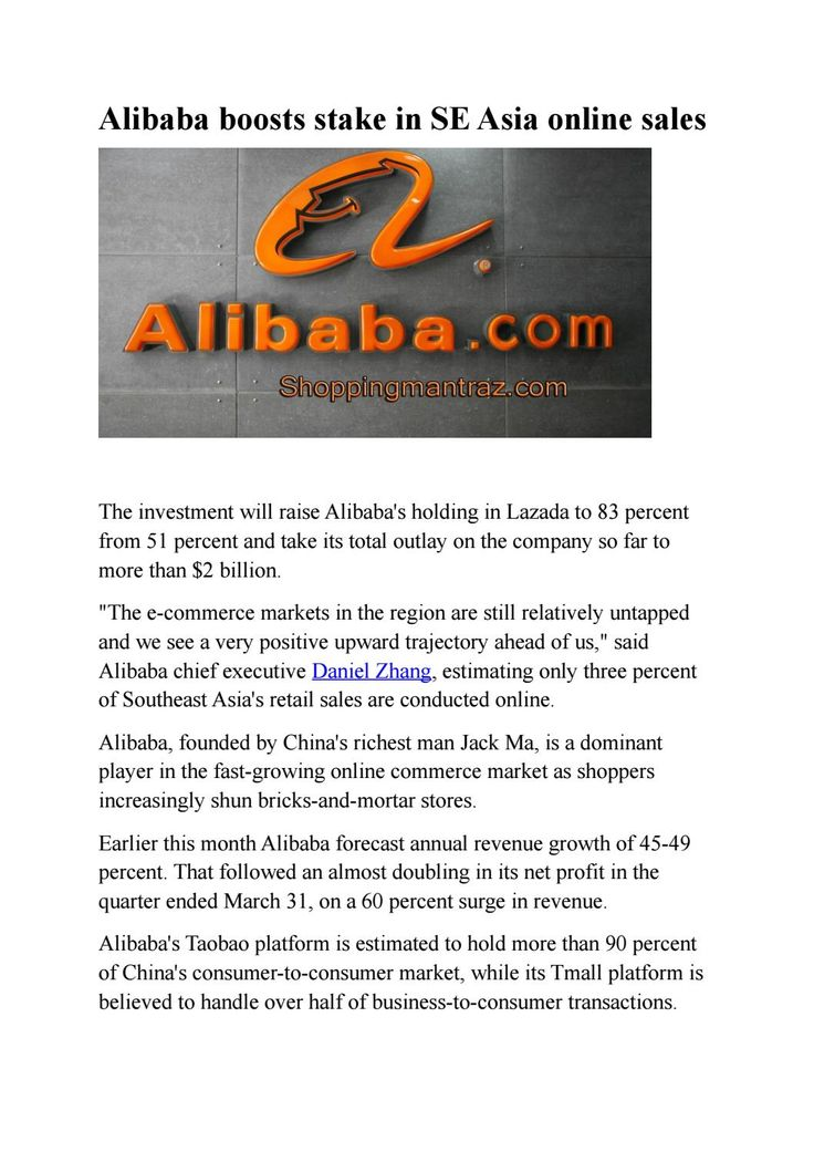 Alibaba boosts stake in se asia online sales