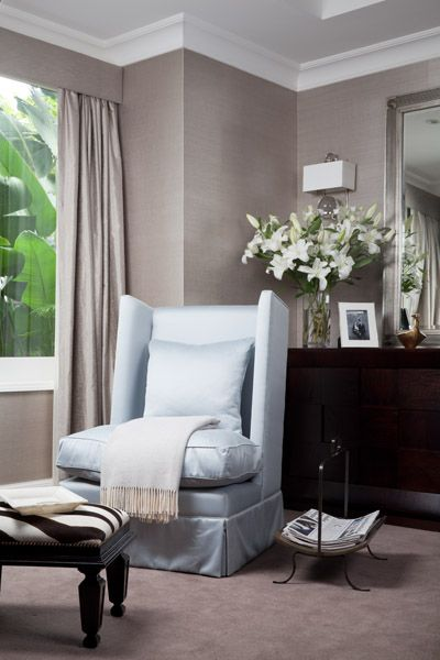 Perfect greige walls with dark timber furniture and light blue silver armchair love the drapes - Match colors living bedroom ...