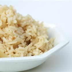 Brazilian White Rice  this is my go-to rice recipe, has onion and garlic that goes well with anything and is more tasty than plain white rice  i double the garlic, onions, and salt. once the rice is done, I remove from heat and let sit covered for 10 min.
