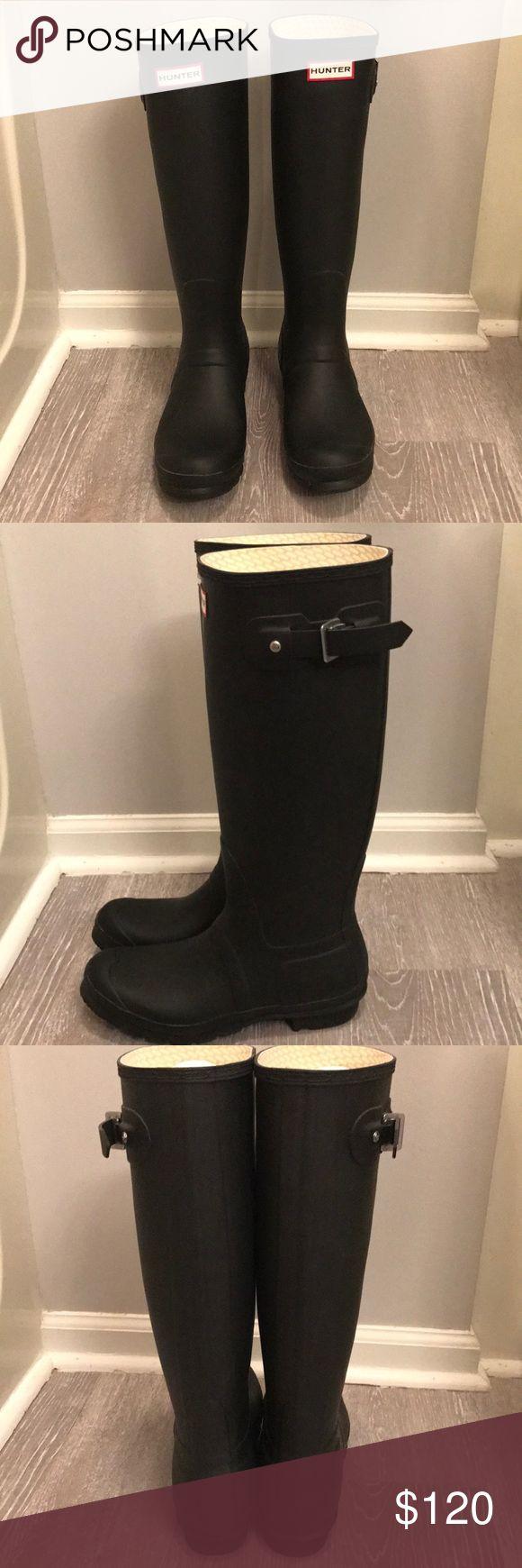 NWOT Black Hunter Rain Boots women's 9/men's 8 black hunter original tall black matte rain boots!!! never worn!!! Hunter Boots Shoes Winter & Rain Boots