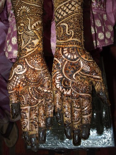 Beautiful Bridal Henna Designs- I like everything except the colored in finger tips. Don't like that at all.