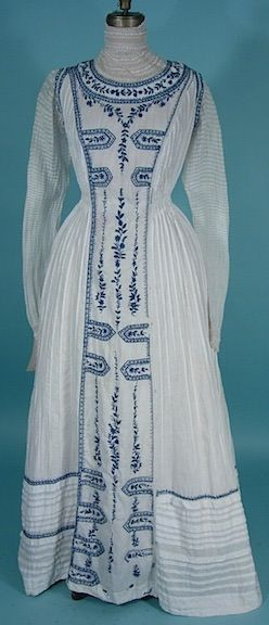 c. 1902 Gibson Girl Era White Cotton Lawn Dress with Blue Embroidery Antique Dress