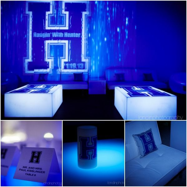 Name & Initial Logo Theme Bar Mitzvah Decorations {Venue: Life...The Place To Be, Ian Londin Photography} - mazelmoments.com
