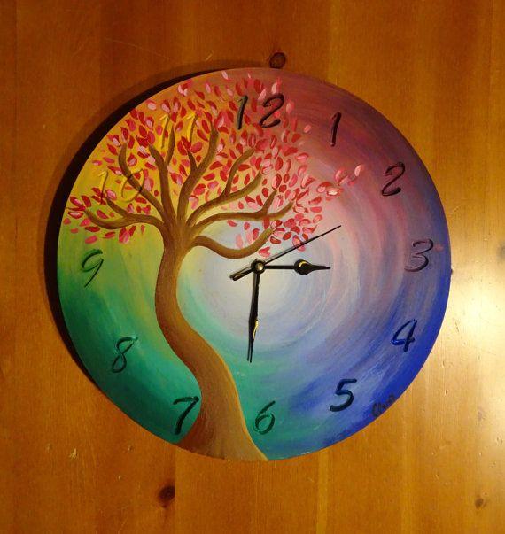 Quadro-orologio dipinto a mano su legno, Handmade paint-clock on wood, acrilico