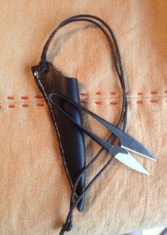 Viking Scissor Hanger~ Norse Thread Snip Hanger~ Viking Accessory~Leather Viking Belt Tool~ Broach Scissors~ Viking Sewing~ Norse Accesory