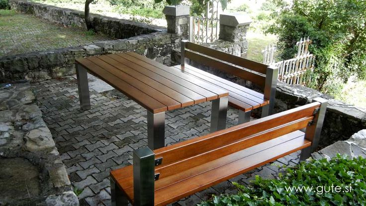 Garden furniture with inox frame and Oak on top! www.gute.si