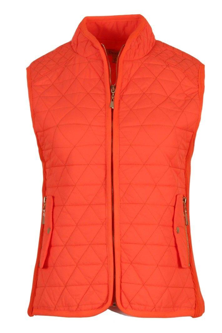 Women Zip Up Sleeveless Quilted Padded Puffy Down Vest-Neon Orange
