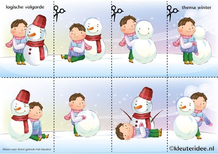 Leg de plaatjes van de sneeuw in logische volgorde