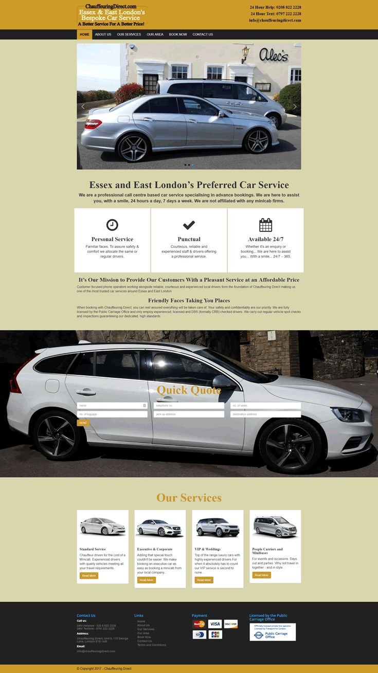 Website designed for Chauffeuring Derect
