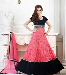 Buy Pink embroidered net Semi stitched salwar with dupatta wedding-salwar-kameez online