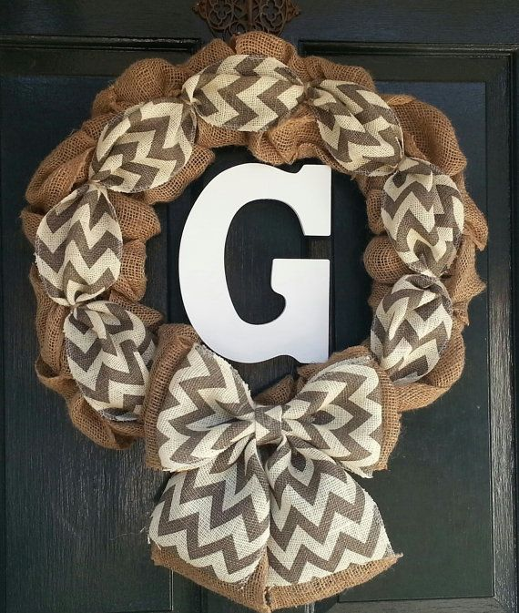 Burlap Wreath with Chevron Burlap,  Bow and Monogram- Front Door Wreath- Monogram Wreath-Wedding Decoration- Wedding Gift-