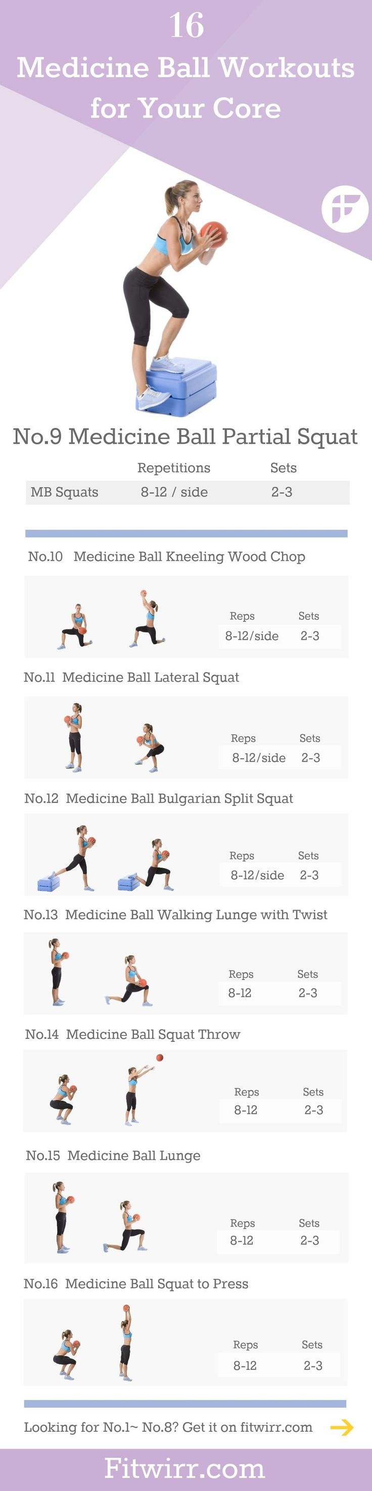16 Medicine ball workouts to strengthen your core. #coreexercises #squats