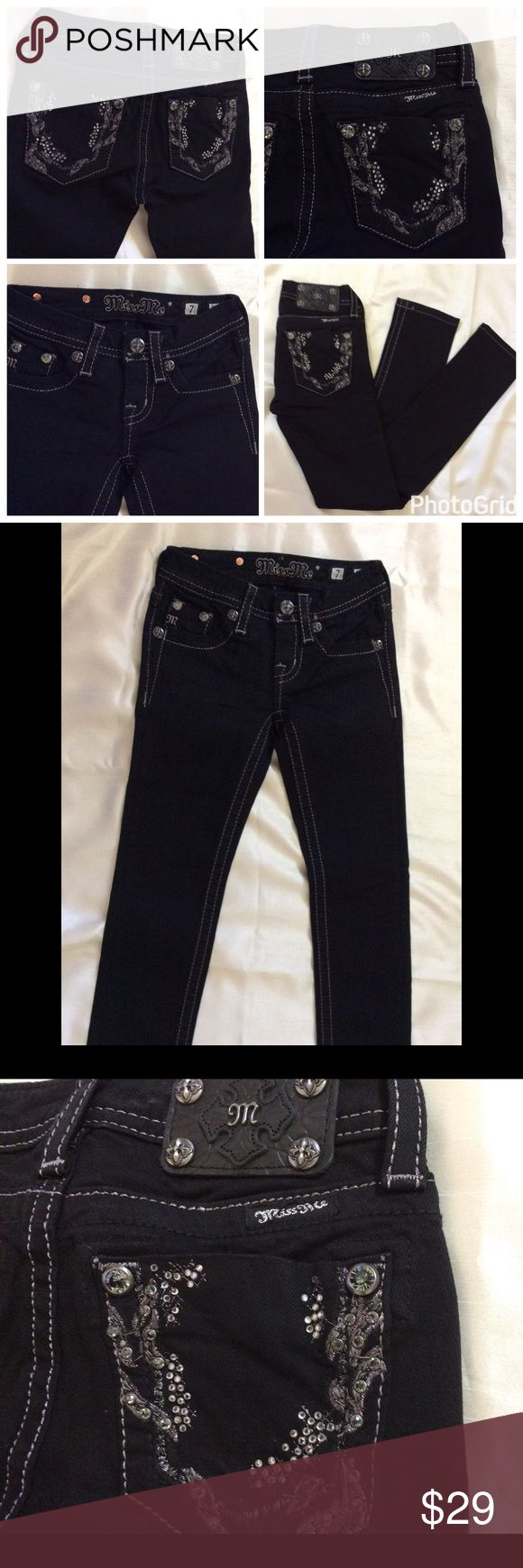 Girls Miss Me Jeans NWOT girls Miss Me Jeans, black color , Skinny jeans ,inseam is 24 inches, size 7, brand new Miss Me Bottoms Jeans