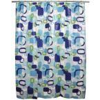 Hip Squares Blue Shower Curtain, Flat
