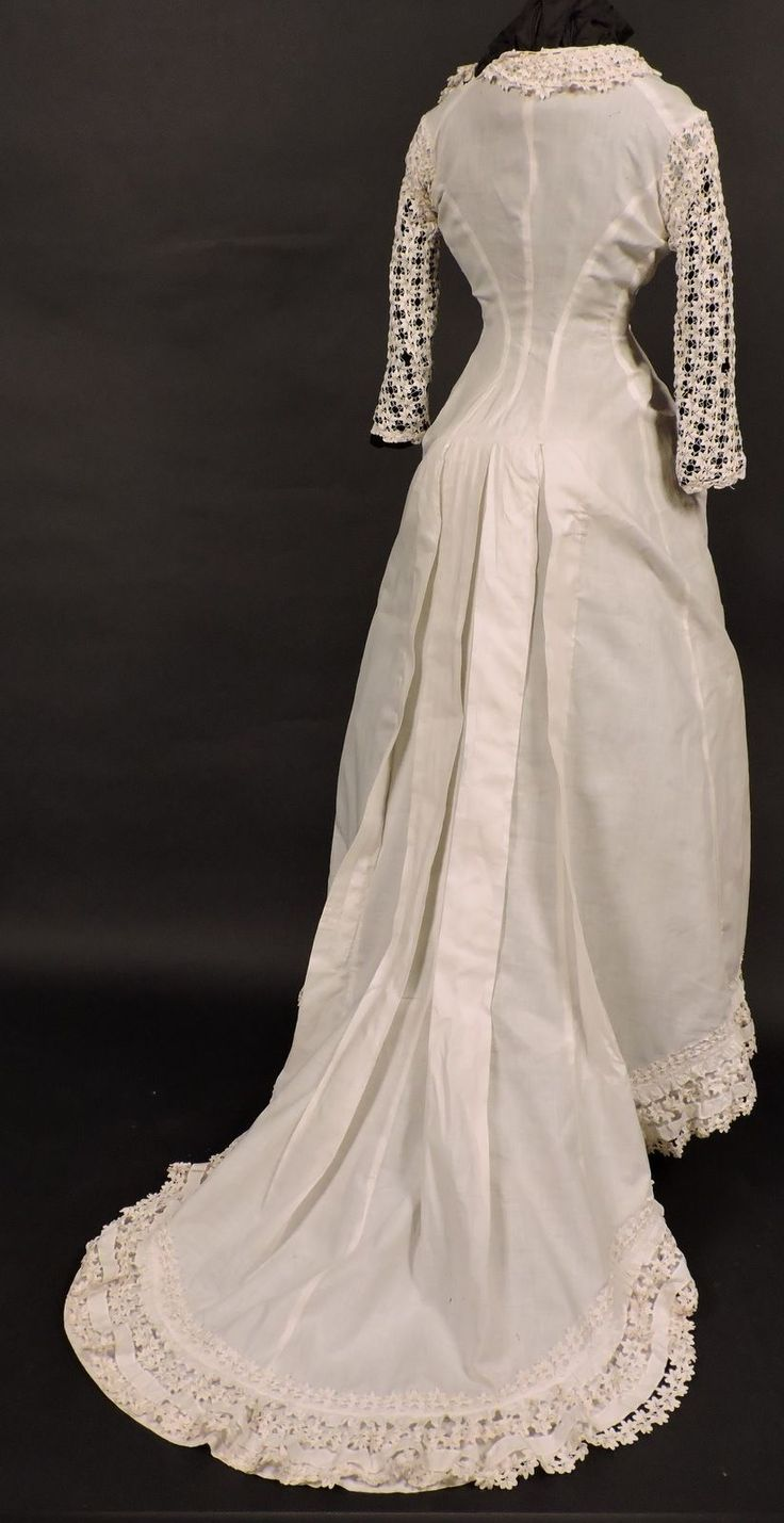 Victorian 1880's Bustle Back Summer Gown w Hand Made Rick Rack Lace Train | eBay