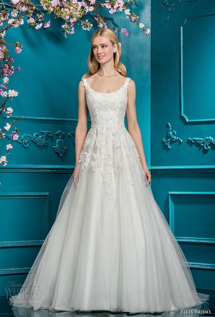 ellis bridals 2018 sleeveless scoop neck heavily embellished bodice romantic a  line wedding dress open scoop back chapel train (11) mv -- Ellis Bridals 2018 Wedding Dresses