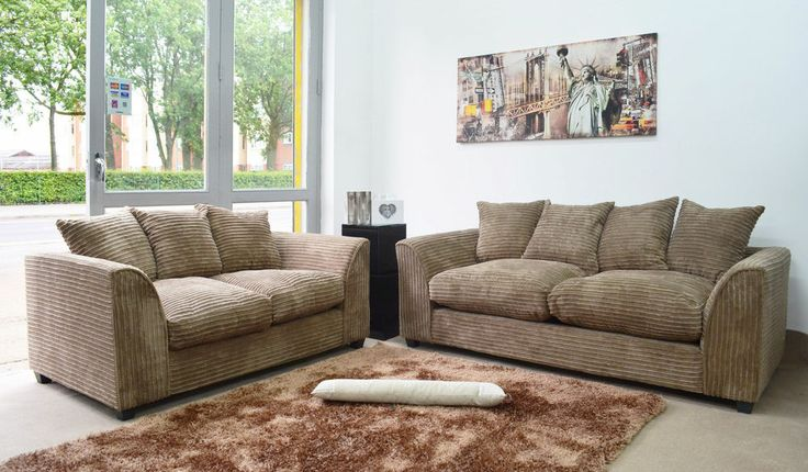 New Dylan Jumbo Cord Caramel Sofa in Corners and 3+2+1 Seaters