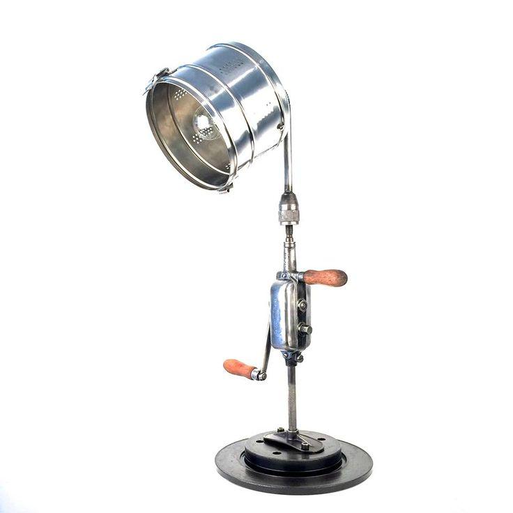 Lampe lecamionben chignole perceuse main sign e peugeot freres lampes - Lampes industrielles anciennes ...