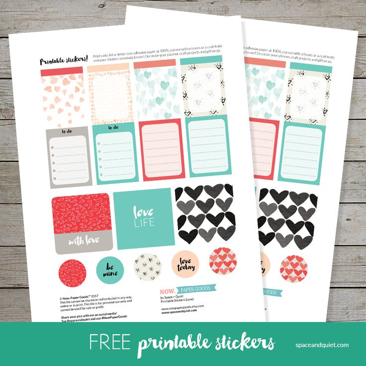 Free Valentines Day printable stickers. Perfect for decorating planners and gift wrapping. Download instantly for free. Print on adhesive paper and trim. Click through to download the PDF file.