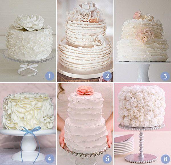 cake love 1  1. peônia - The King Cake | 2. Babados na extremidade das camadas | 3. Babados super fininhos: Maggie Austin Cake | 4. Badados que foram flores irregulares  | 5. Babados mais alisados | 6. Babados que formam cravos: The Knot