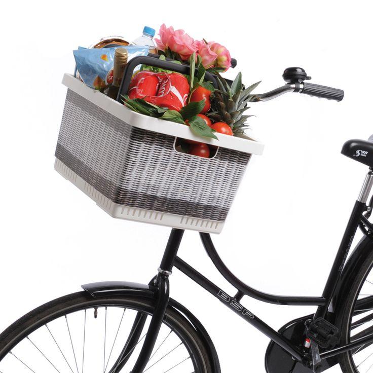 Trendy fiets- en boodschappenmandje in één die je eenvoudig aan je fietsstuur hangt.
