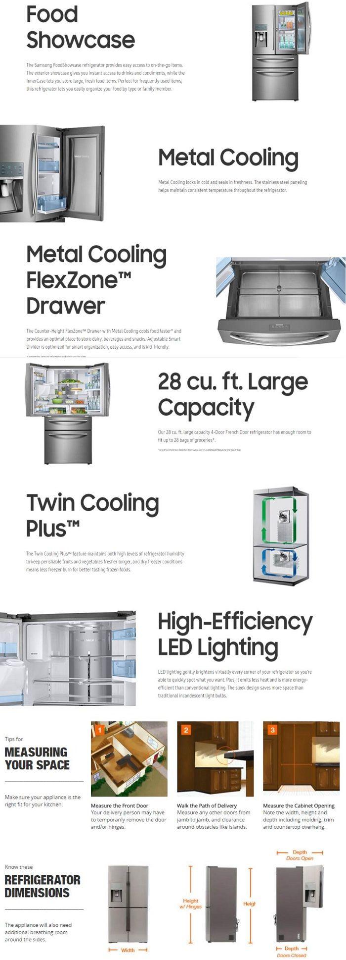 Samsung 27.8 cu. ft. Food Showcase 4-Door French Door Refrigerator in Stainless Steel-RF28JBEDBSR - The Home Depot