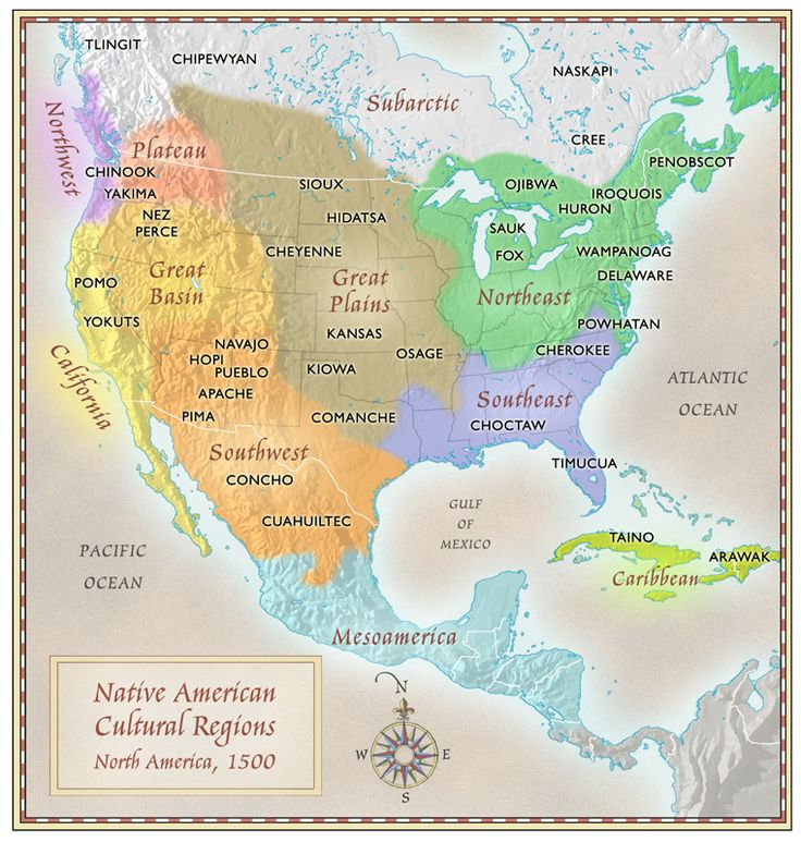 "NATIVE AMERICAN CULTURAL REGIONS MAP —  North America, 1500, by Paul Mirocha. ""I designed these maps for a chapter on Native American culture for National Geographic School Publishing. The map shows the regions occupied by various native cultures when the Spaniards first appeared in the Americas. I always enjoy learning little bits and pieces of knowledge from working on these kinds of projects."""