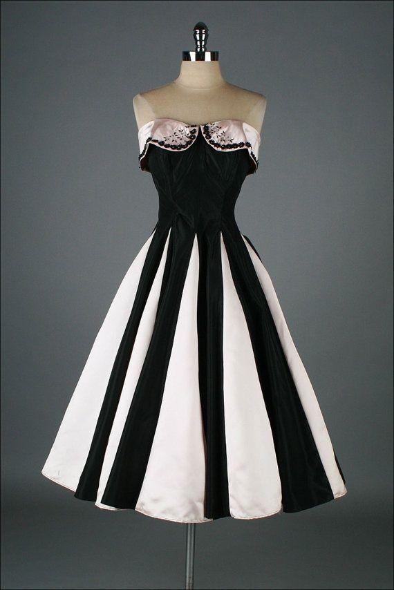 1950sDress   vintage 1950s dress . pink black satin .   Women's Fashion