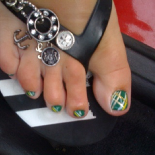 Packers toes! Crystal and company-Melissa Frizzell (Nail Tech) Benton, KY
