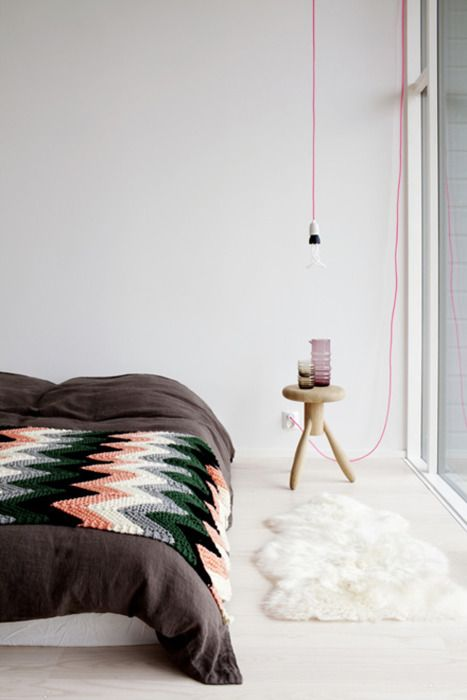 Light bulbs with colored wire. I absolutely love this lately.