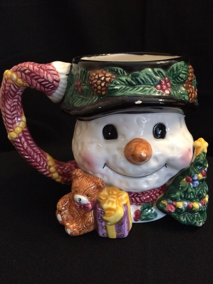 Snow Man Mug Cup 3D Figural Christmas Holiday Hand Painted | eBay