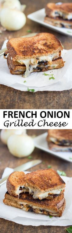 French Onion Grilled Cheese. All of the flavors of French Onion soup you love stuffed into a grilled cheese sandwich. Made with caramelized onions, Swiss cheese, and parsley.