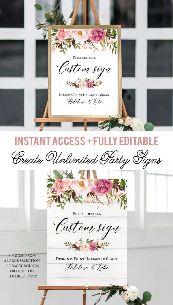Pink Flowers Welcome Sign Baby Shower Welcome Sign Bridal Etsy Printable Wedding Sign Romantic Weddings Wedding Brunch Invitations