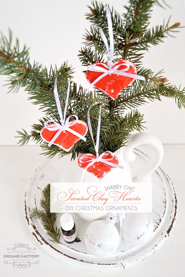 Decorate your home, Christmas tree or your Christmas gifts with Shabby Chic scented clay hearts ornaments using your favorite essential oils