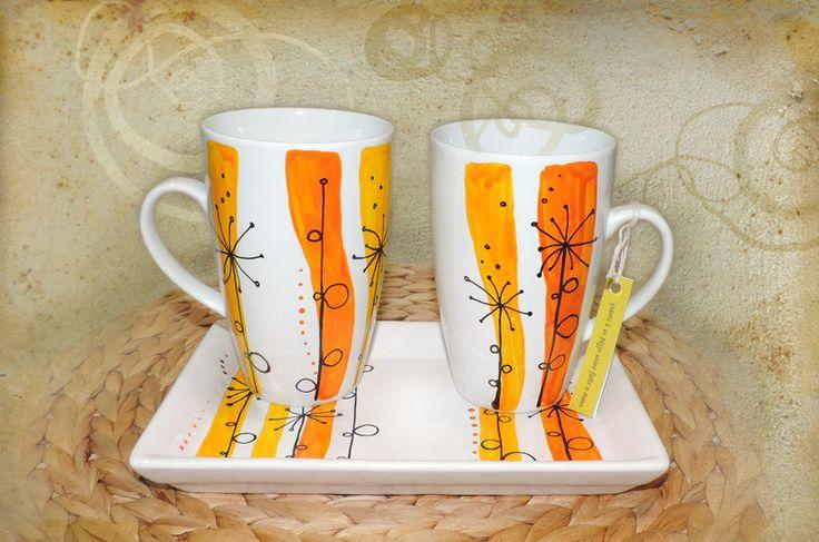 set di due tazze e vassoio ceramica dipinta a mano  Il set va accompagnato con un'etichetta che conferma che sono pezzi unici dipinti a mano. acquistabile su: ☛ Luciana-Torre-SHOP.dawanda.com