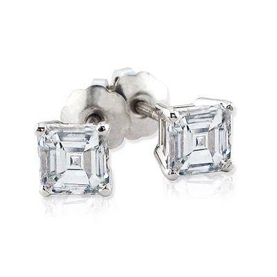 Ascher Cut Diamond Solitaire Earrings
