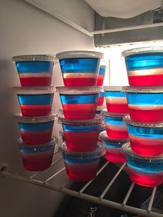 FOURTH OF JULY JELL-O SHOTS! To make these purchase 1 packages of blue jello mix, red jello mix, and knox gelatin mix. You will also need a clear fruity liquor that will pair well with these flavors! Prep time is about an hour and a half! Enjoy!!