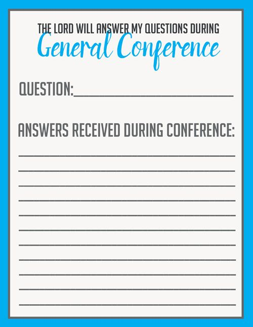Printable Question and revelation sheet for General Conference