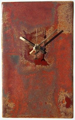 Rusts and Reds Rectangular Pottery Clock. Height 20cm (8 inches) £35 www.artclocks.co.uk