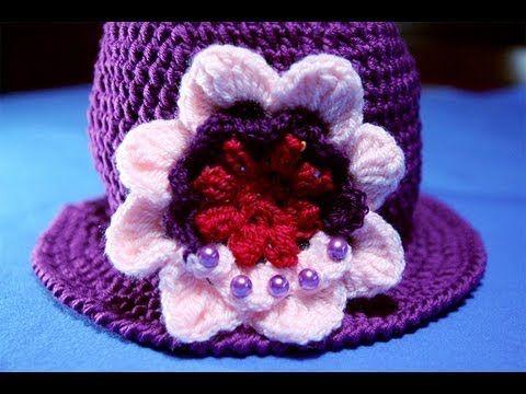 Tutorial uncinetto fiore 3D - Applicazione per cappello (+playlist)