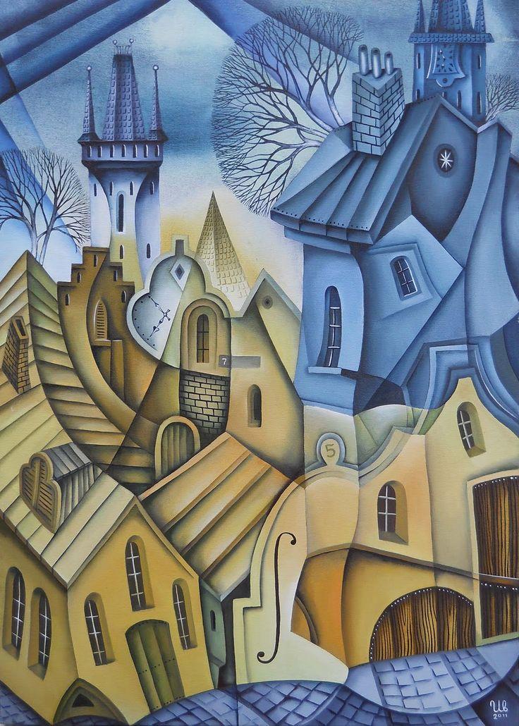 Watercolor by Eugene Ivanov. #eugeneivanov #cubistic #urban #landscape #cityscape #cubism #@eugene_1_ivanov