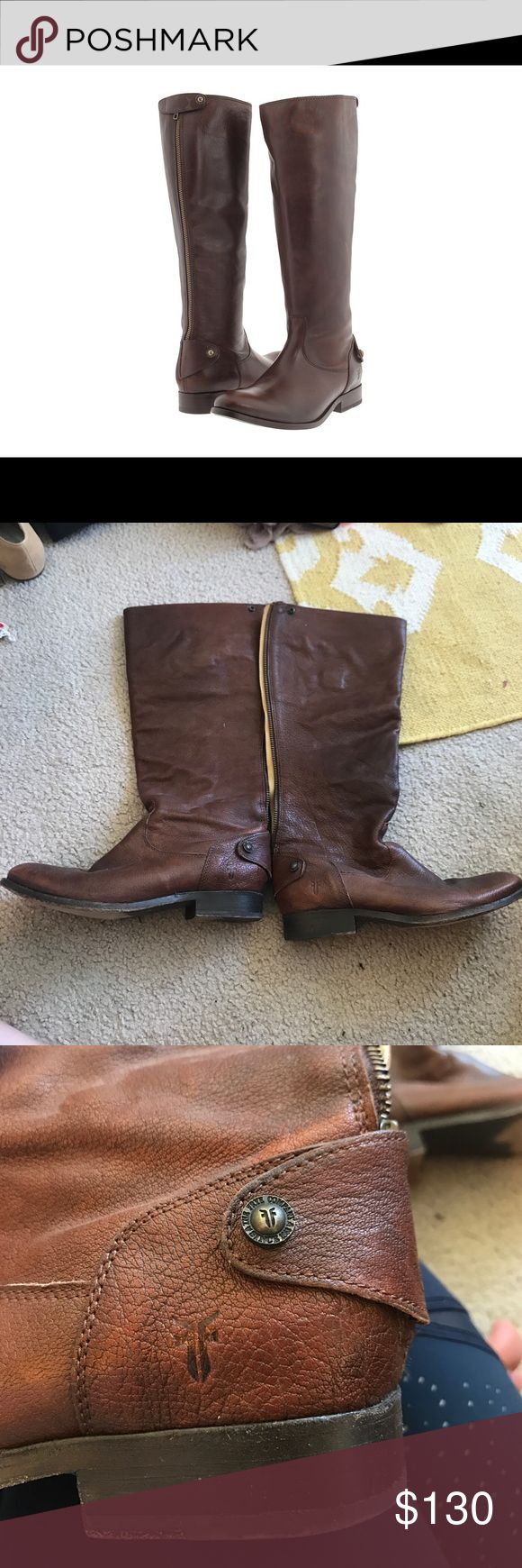 Frye Melissa button back zip boot Size 8. In great condition. Only worn a few times. Small scuffs at the toe of the boot. Frye Shoes Combat & Moto Boots
